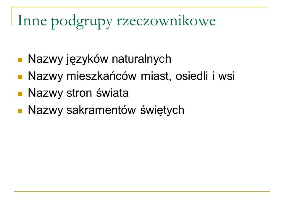 Inne podgrupy rzeczownikowe Nazwy języków naturalnych Nazwy mieszkańców miast, osiedli i wsi Nazwy stron świata Nazwy sakramentów świętych