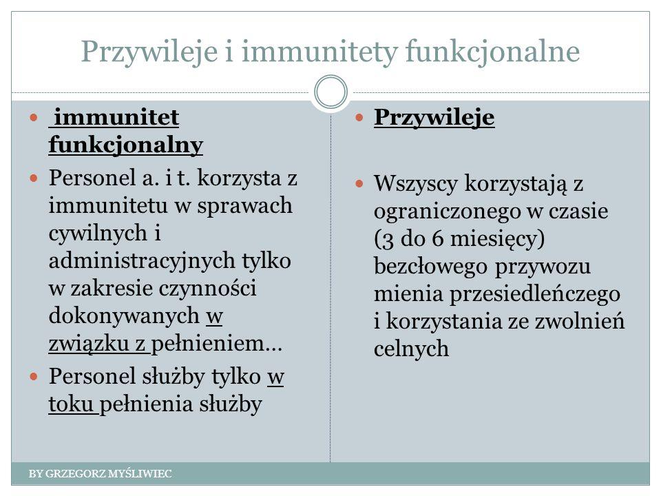 Przywileje i immunitety funkcjonalne immunitet funkcjonalny Personel a. i t. korzysta z immunitetu w sprawach cywilnych i administracyjnych tylko w za