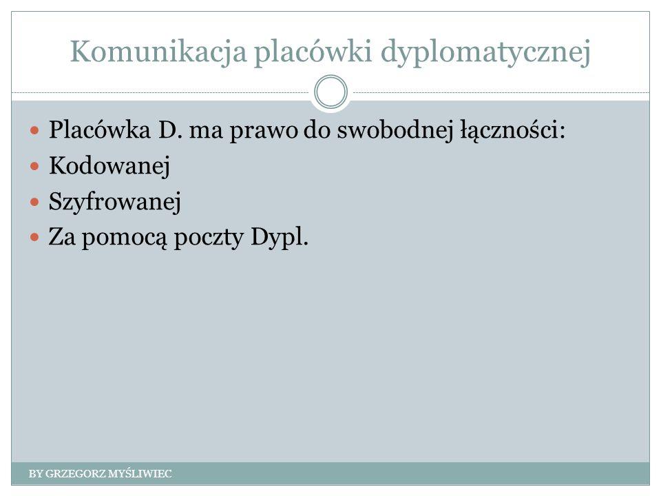 Komunikacja placówki dyplomatycznej Placówka D. ma prawo do swobodnej łączności: Kodowanej Szyfrowanej Za pomocą poczty Dypl. BY GRZEGORZ MYŚLIWIEC