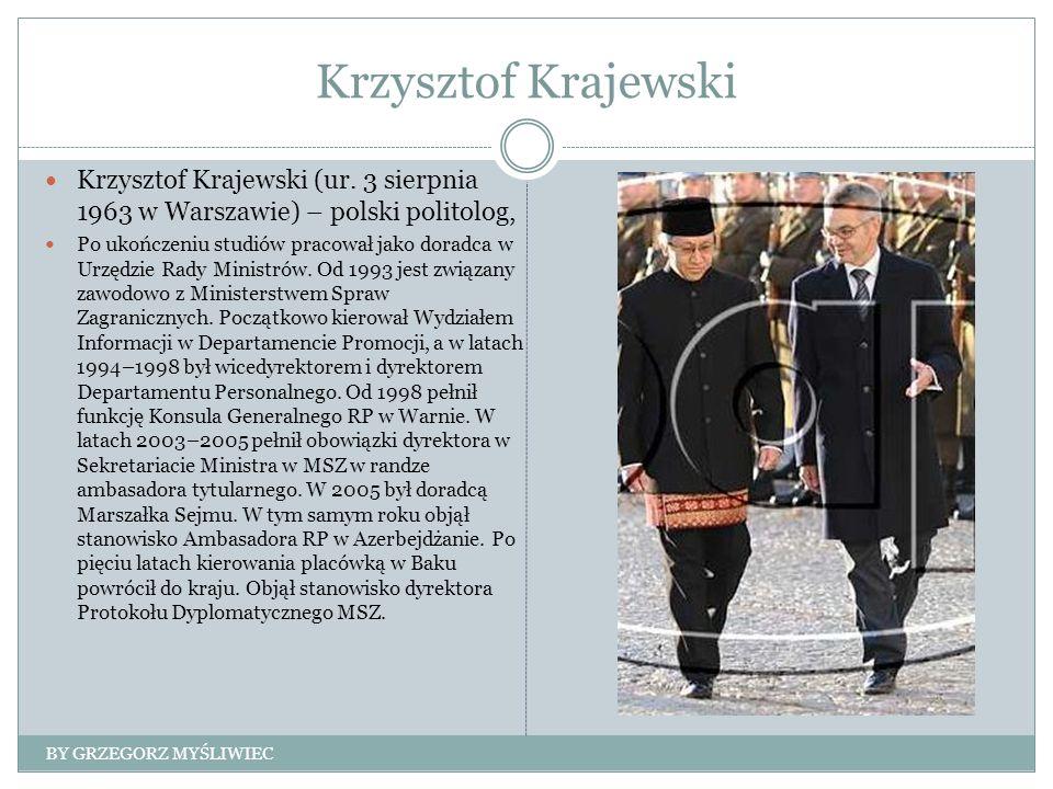 Krzysztof Krajewski Krzysztof Krajewski (ur. 3 sierpnia 1963 w Warszawie) – polski politolog, Po ukończeniu studiów pracował jako doradca w Urzędzie R