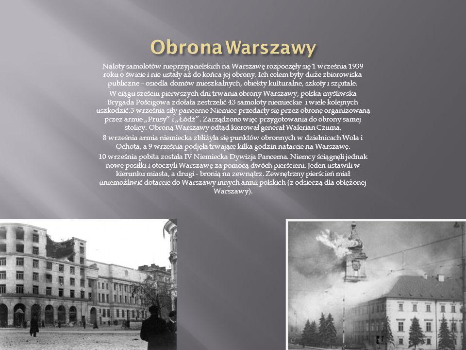 Naloty samolotów nieprzyjacielskich na Warszawę rozpoczęły się 1 września 1939 roku o świcie i nie ustały aż do końca jej obrony.