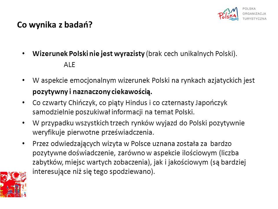 Co wynika z badań? Wizerunek Polski nie jest wyrazisty (brak cech unikalnych Polski). ALE W aspekcie emocjonalnym wizerunek Polski na rynkach azjatyck