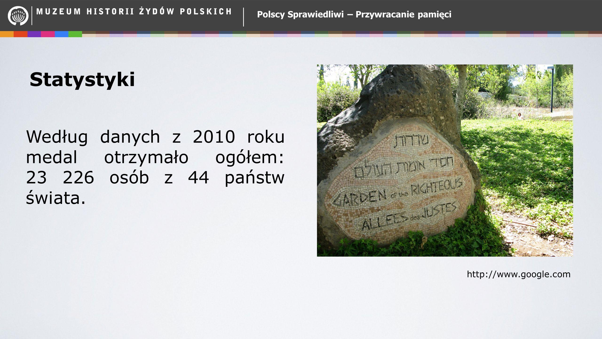 Polscy Sprawiedliwi – Przywracanie pamięci Statystyki Według danych z 2010 roku medal otrzymało ogółem: 23 226 osób z 44 państw świata. http://www.goo