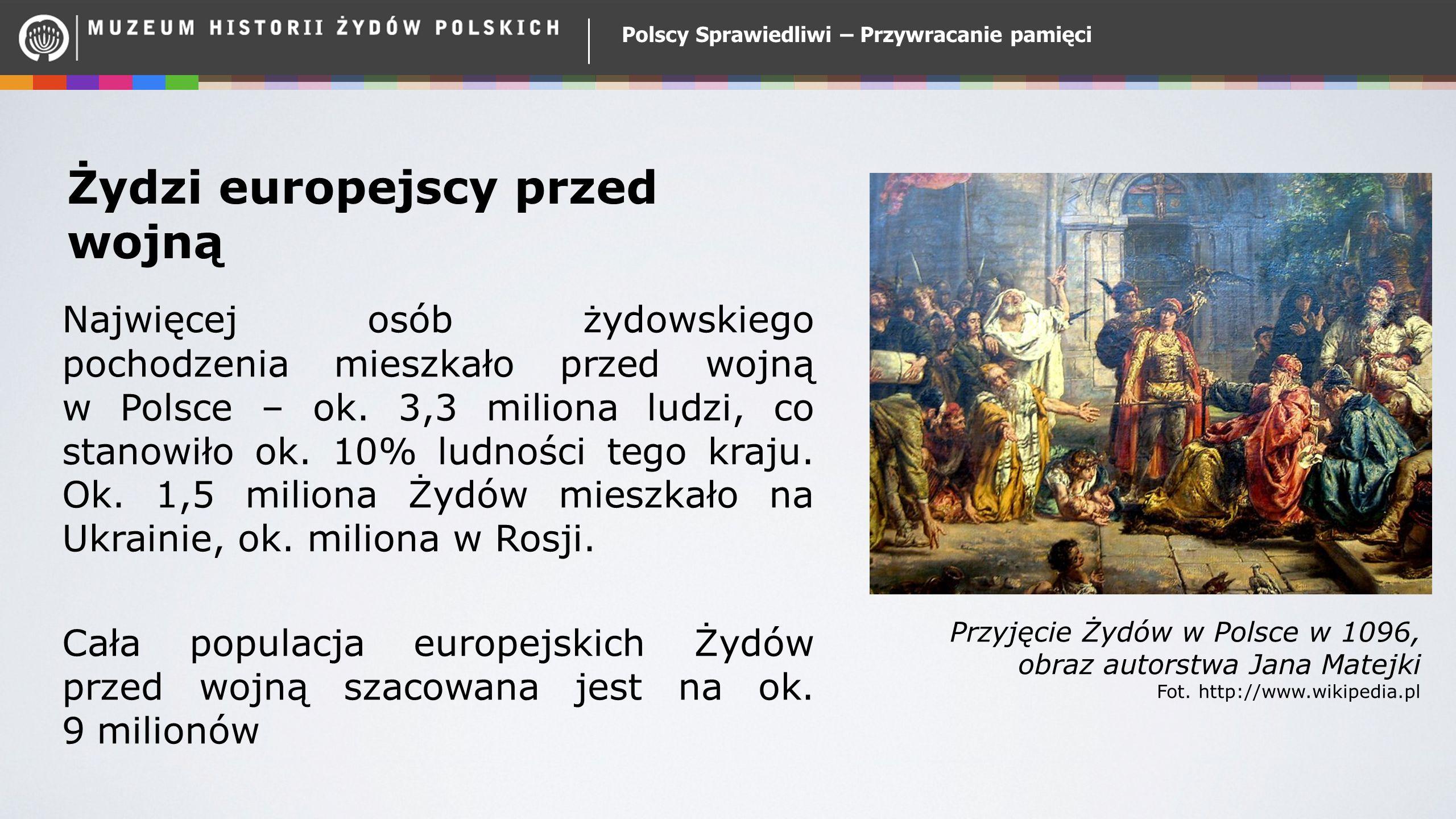Żydzi europejscy przed wojną Najwięcej osób żydowskiego pochodzenia mieszkało przed wojną w Polsce – ok. 3,3 miliona ludzi, co stanowiło ok. 10% ludno