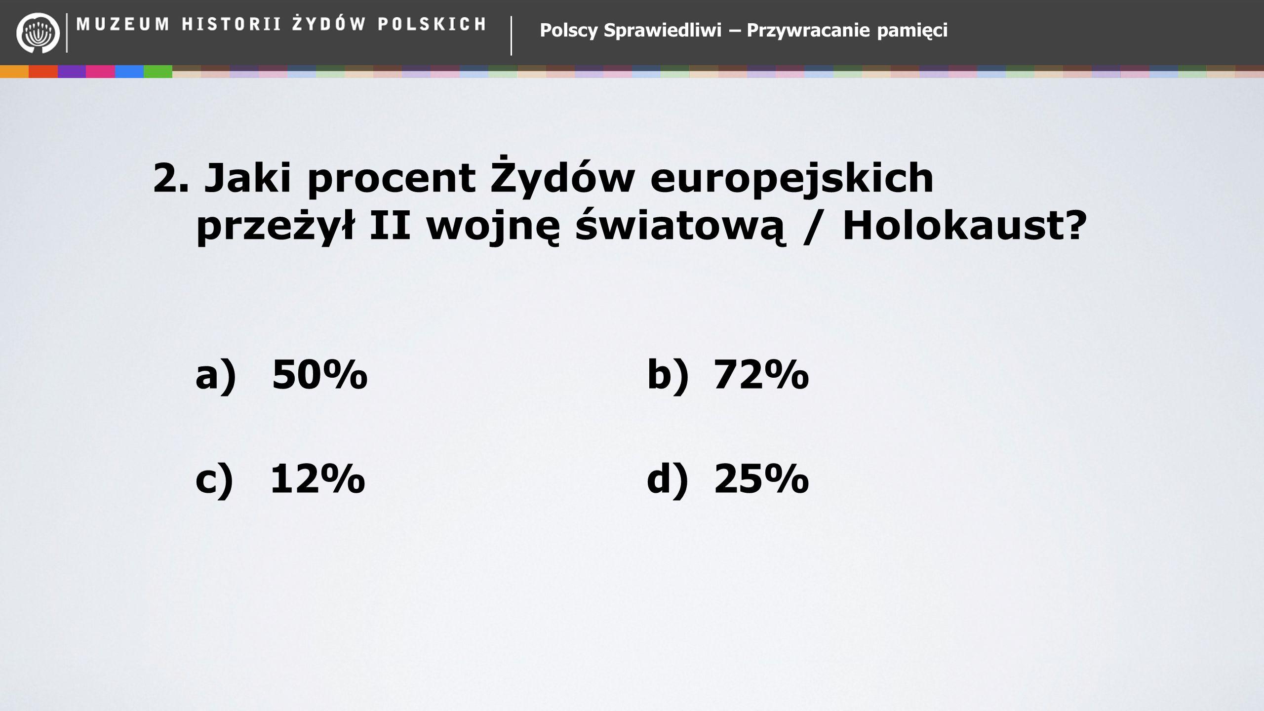 Polscy Sprawiedliwi – Przywracanie pamięci 2. Jaki procent Żydów europejskich przeżył II wojnę światową / Holokaust? a) 50% b) 72% c) 12% d) 25%