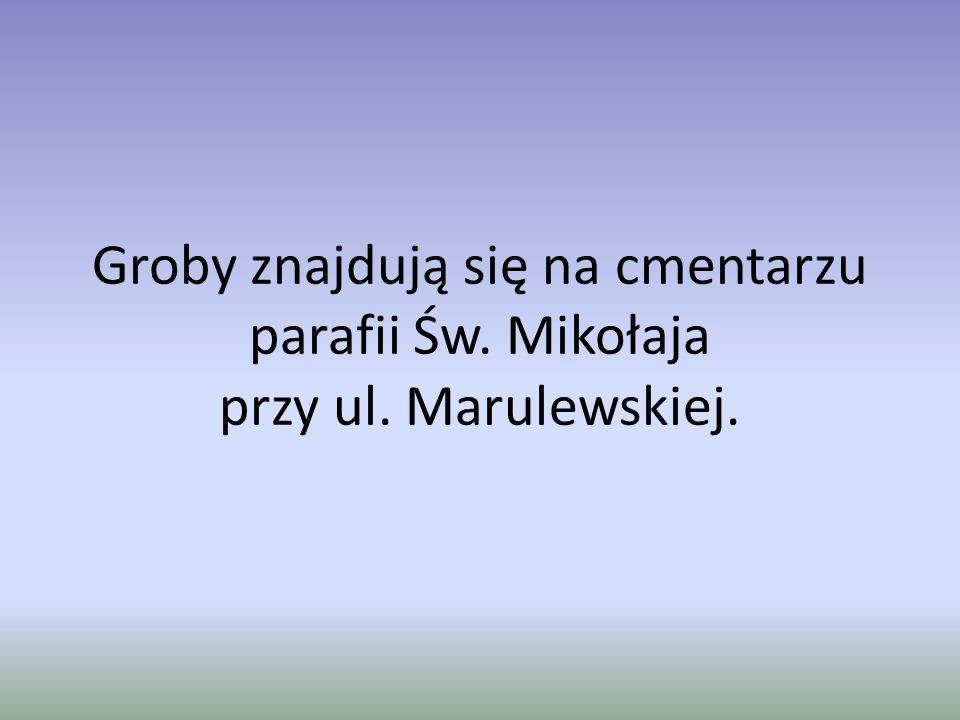 Groby znajdują się na cmentarzu parafii Św. Mikołaja przy ul. Marulewskiej.