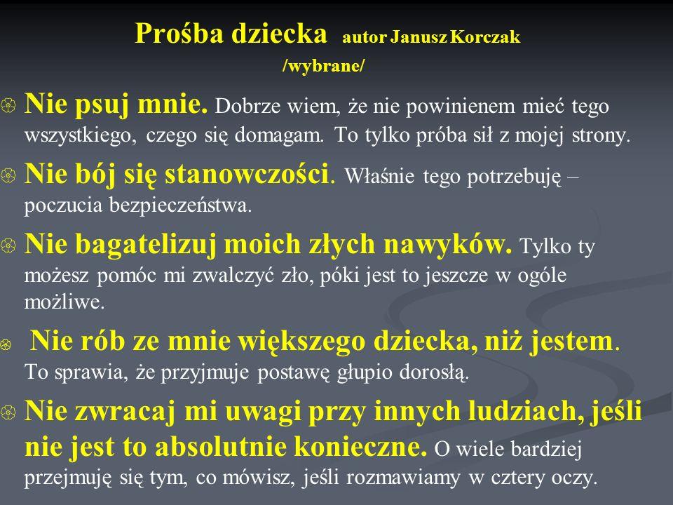 Prośba dziecka autor Janusz Korczak /wybrane/   Nie psuj mnie.