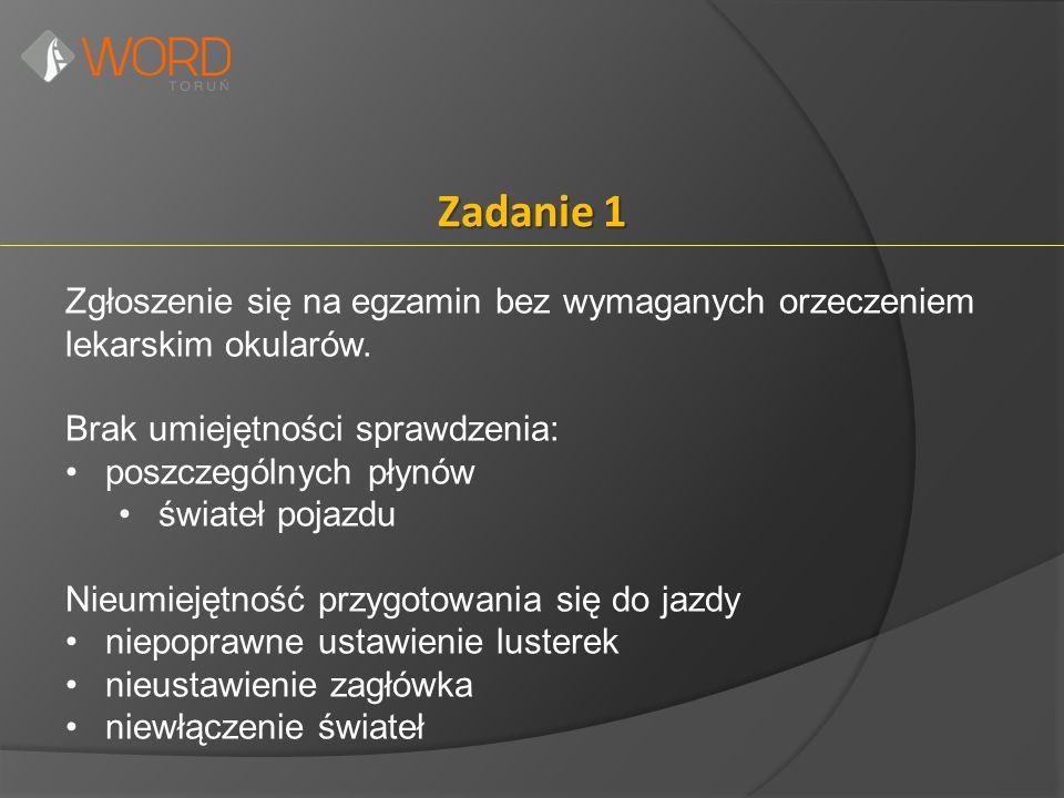 Zadanie 1 Zgłoszenie się na egzamin bez wymaganych orzeczeniem lekarskim okularów.
