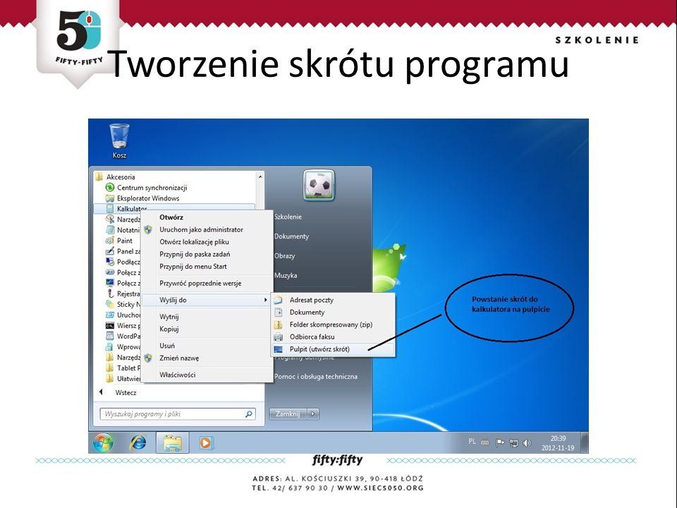Tworzenie skrótu programu