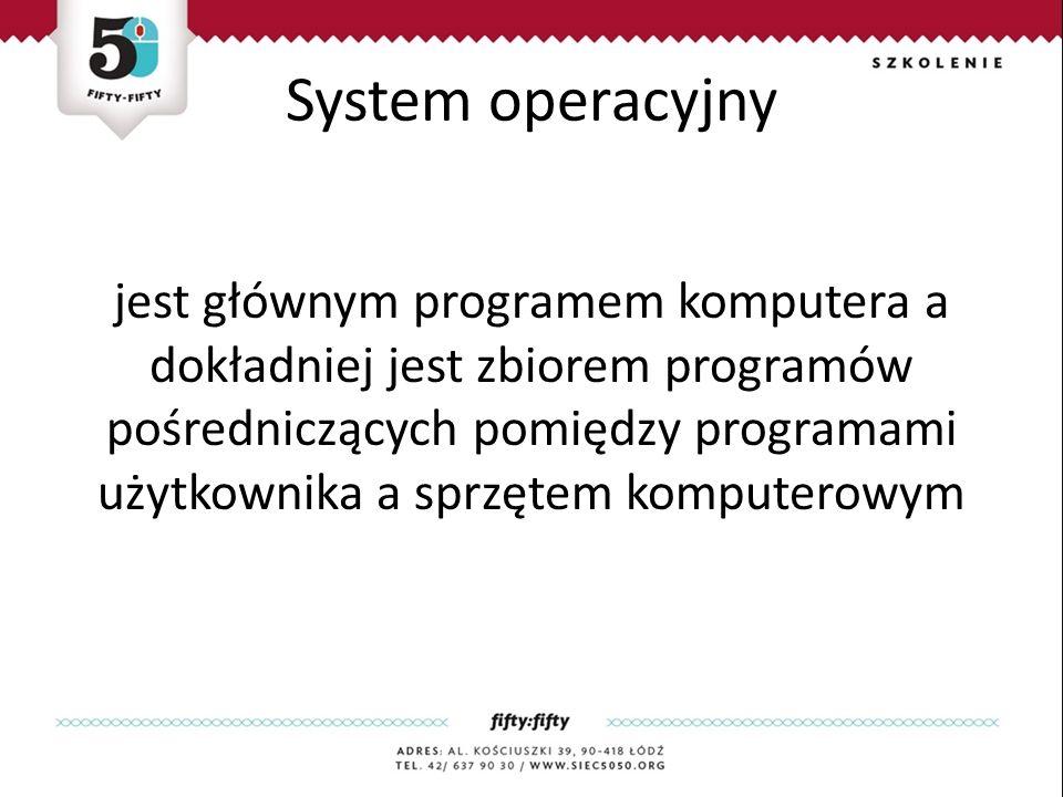 System operacyjny jest głównym programem komputera a dokładniej jest zbiorem programów pośredniczących pomiędzy programami użytkownika a sprzętem komp