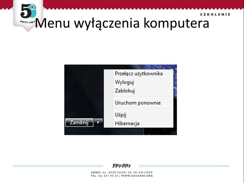 Menu wyłączenia komputera
