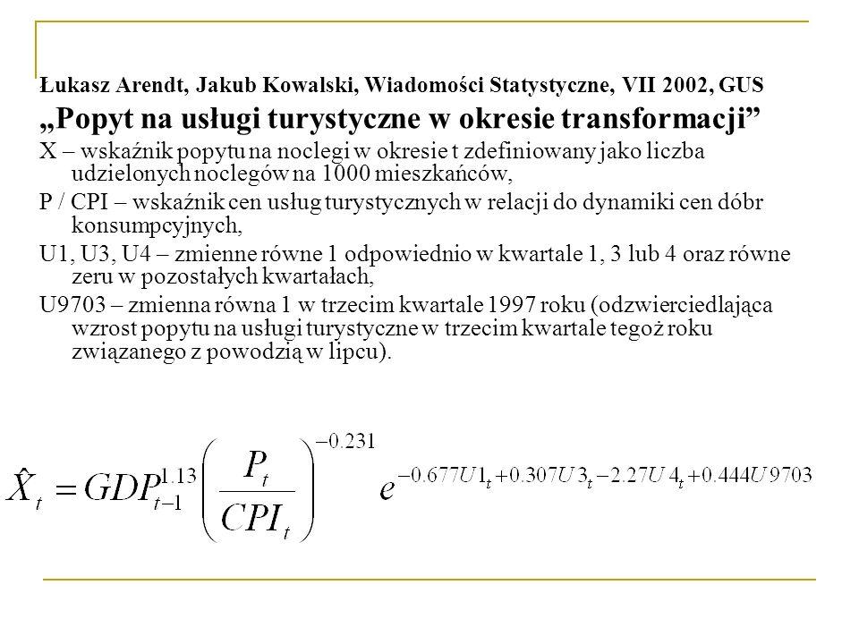 """Łukasz Arendt, Jakub Kowalski, Wiadomości Statystyczne, VII 2002, GUS """"Popyt na usługi turystyczne w okresie transformacji"""" X – wskaźnik popytu na noc"""
