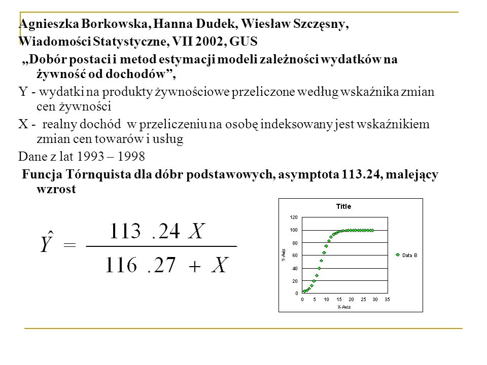 """Agnieszka Borkowska, Hanna Dudek, Wiesław Szczęsny, Wiadomości Statystyczne, VII 2002, GUS """"Dobór postaci i metod estymacji modeli zależności wydatków"""