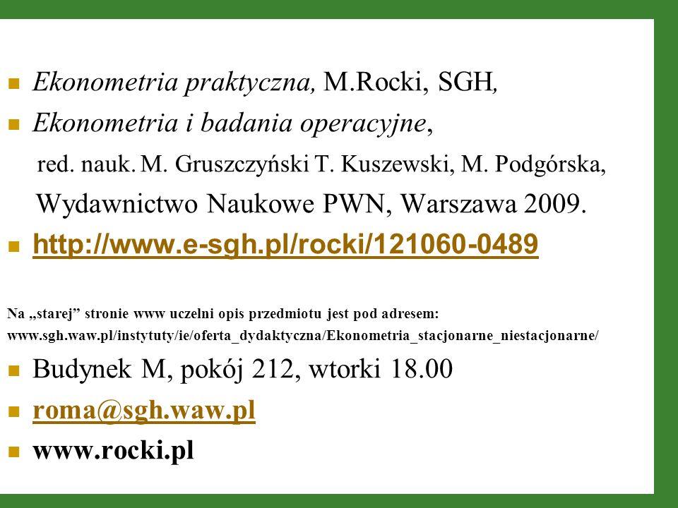 Ekonometria praktyczna, M.Rocki, SGH, Ekonometria i badania operacyjne, red. nauk. M. Gruszczyński T. Kuszewski, M. Podgórska, Wydawnictwo Naukowe PWN