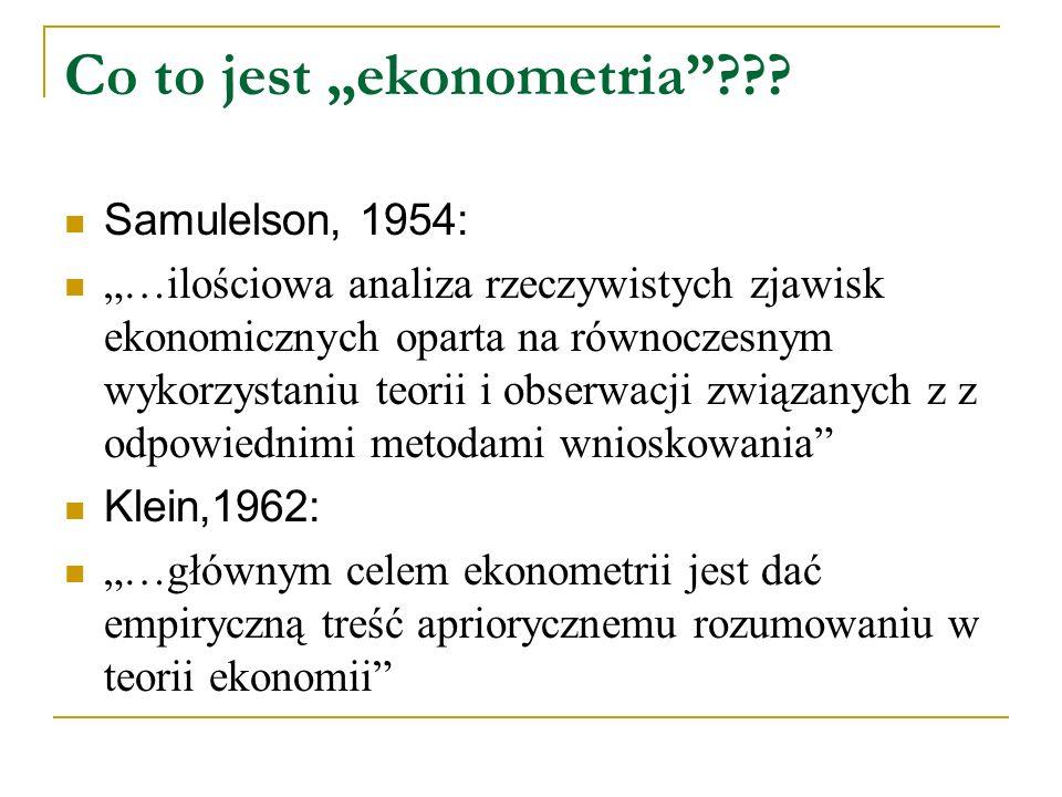 """Cd: co to jest """"ekonometria : Malinvaud, 1966: """"Celem ekonometrii jest empiryczne ustalenie treści praw ekonomicznych."""