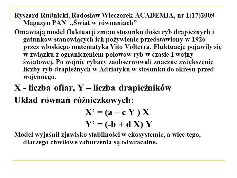 """Ryszard Rudnicki, Radosław Wieczorek ACADEMIA, nr 1(17)2009 Magazyn PAN """"Świat w równaniach"""" Omawiają model fluktuacji zmian stosunku ilości ryb drapi"""