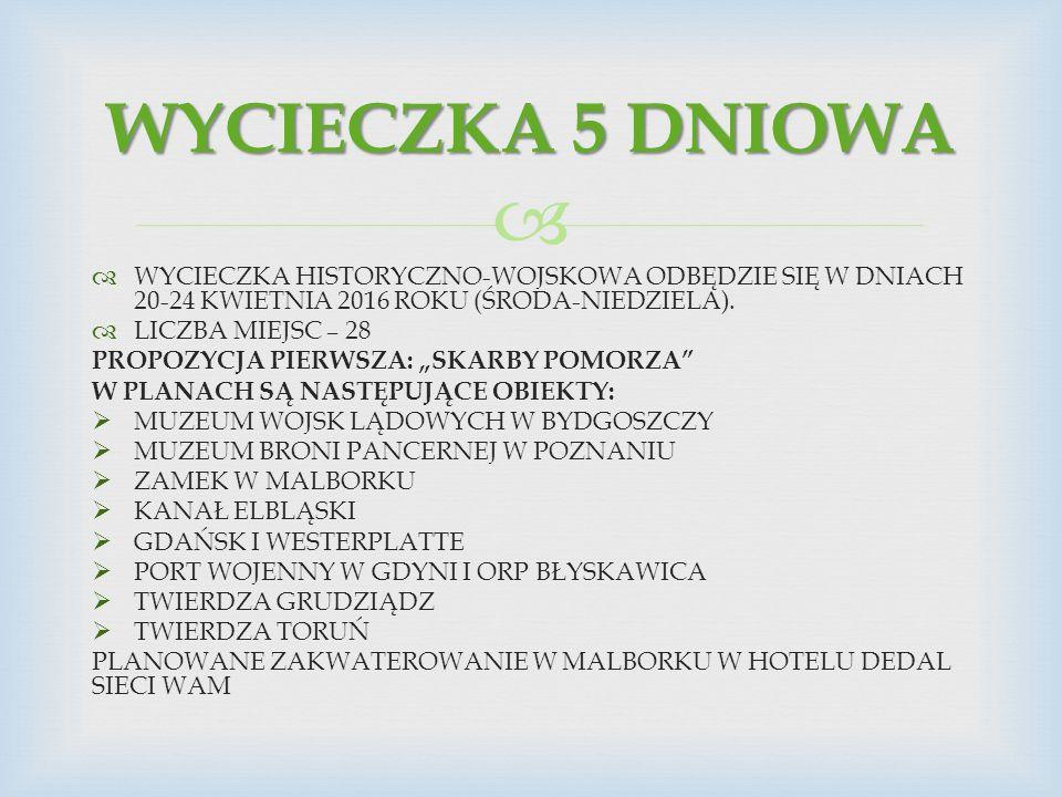   WYCIECZKA HISTORYCZNO-WOJSKOWA ODBĘDZIE SIĘ W DNIACH 20-24 KWIETNIA 2016 ROKU (ŚRODA-NIEDZIELA).