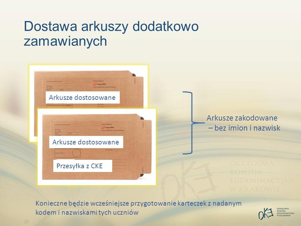 10 Dostawa arkuszy dodatkowo zamawianych Arkusze zakodowane – bez imion i nazwisk Konieczne będzie wcześniejsze przygotowanie karteczek z nadanym kodem i nazwiskami tych uczniów Przesyłka z CKE Arkusze dostosowane