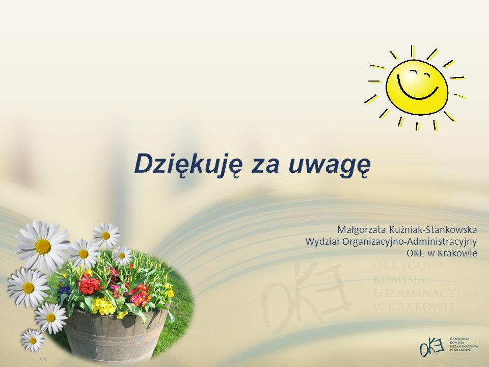 33 Małgorzata Kuźniak-Stankowska Wydział Organizacyjno-Administracyjny OKE w Krakowie