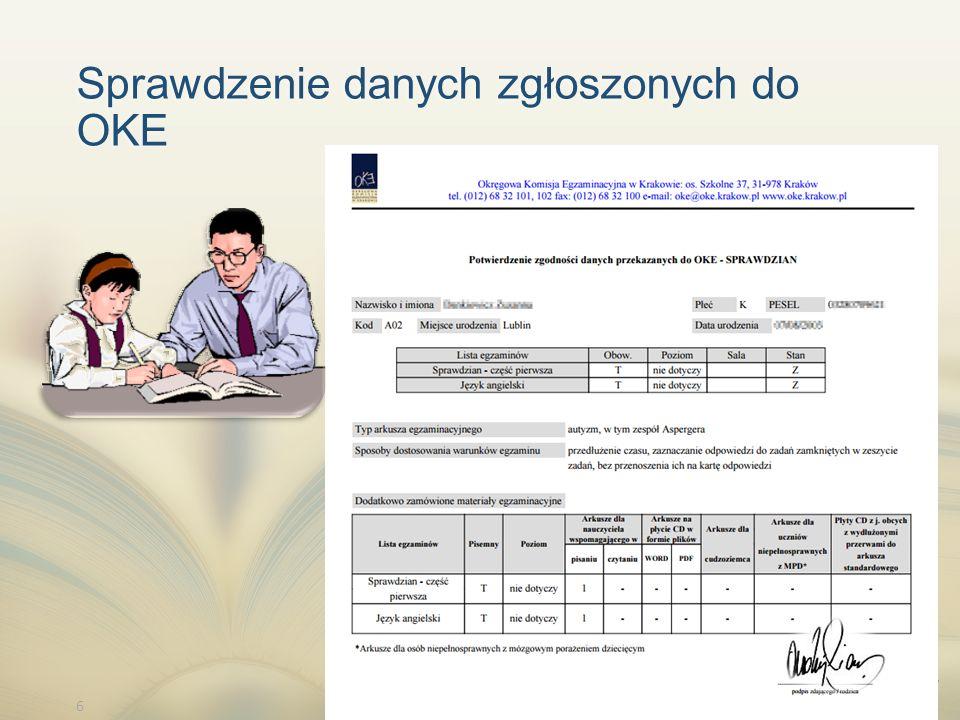 6 Sprawdzenie danych zgłoszonych do OKE