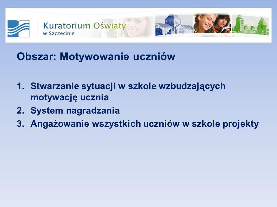 Obszar: Motywowanie uczniów 1.Stwarzanie sytuacji w szkole wzbudzających motywację ucznia 2.System nagradzania 3.Angażowanie wszystkich uczniów w szkole projekty