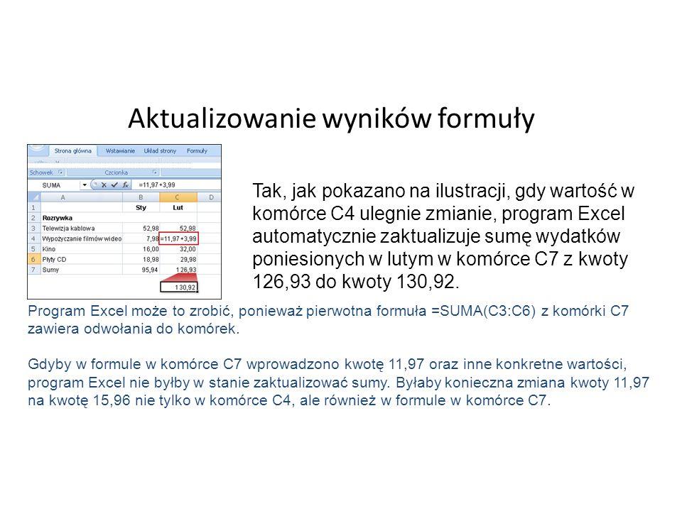 Aktualizowanie wyników formuły Tak, jak pokazano na ilustracji, gdy wartość w komórce C4 ulegnie zmianie, program Excel automatycznie zaktualizuje sumę wydatków poniesionych w lutym w komórce C7 z kwoty 126,93 do kwoty 130,92.