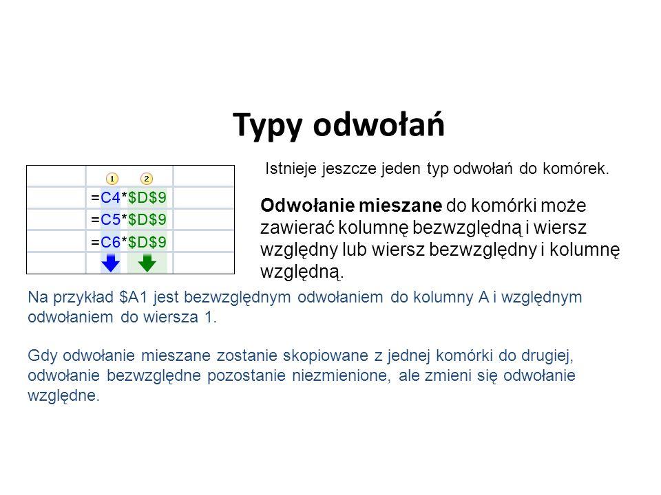 Typy odwołań Istnieje jeszcze jeden typ odwołań do komórek.