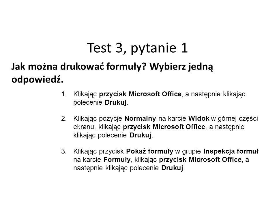 Test 3, pytanie 1 Jak można drukować formuły. Wybierz jedną odpowiedź.