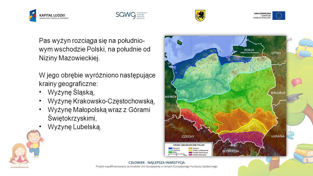 Pas wyżyn rozciąga się na południo- wym wschodzie Polski, na południe od Niziny Mazowieckiej.