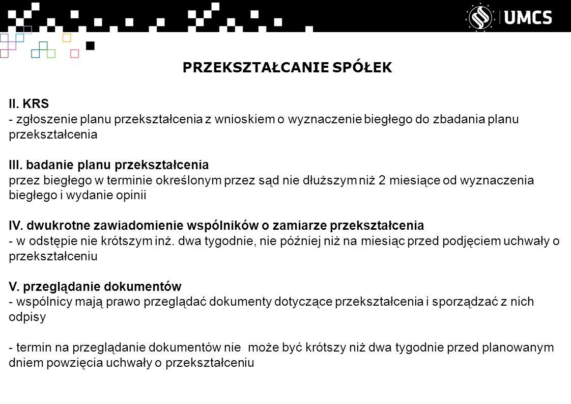 PRZEKSZTAŁCANIE SPÓŁEK II.