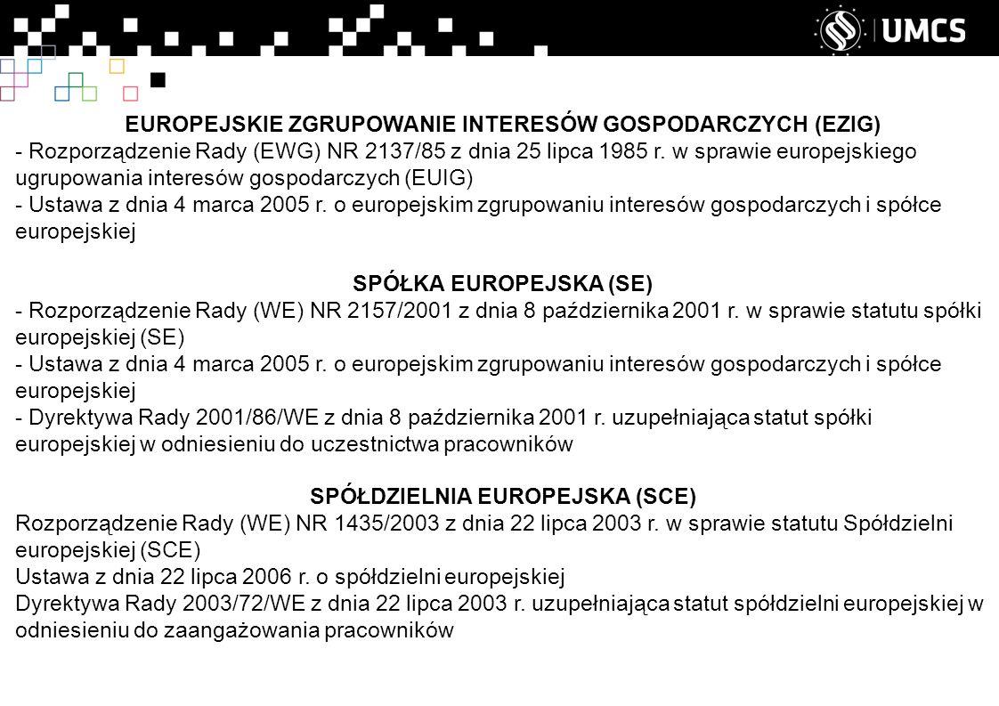 EUROPEJSKIE ZGRUPOWANIE INTERESÓW GOSPODARCZYCH (EZIG) - Rozporządzenie Rady (EWG) NR 2137/85 z dnia 25 lipca 1985 r.