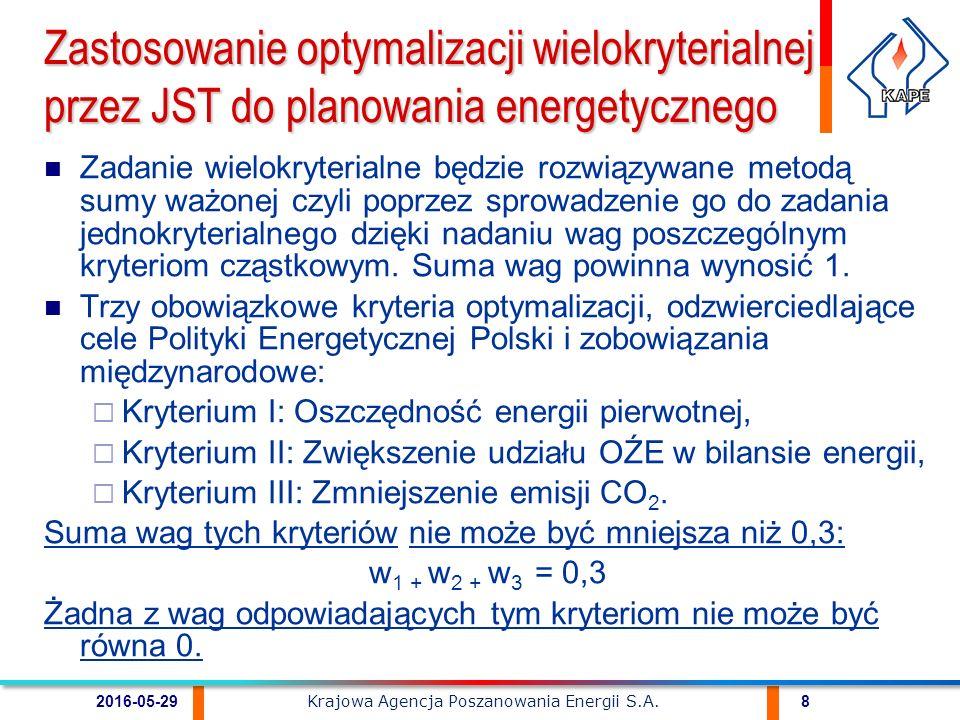 Pozostałe kryteria oceny przedsięwzięć służących poprawie efektywności energetycznej na obszarze JST oraz przypisane im wagi ustalane są przez decydentów w zależności od celów strategicznych i priorytetów rozwoju JST.