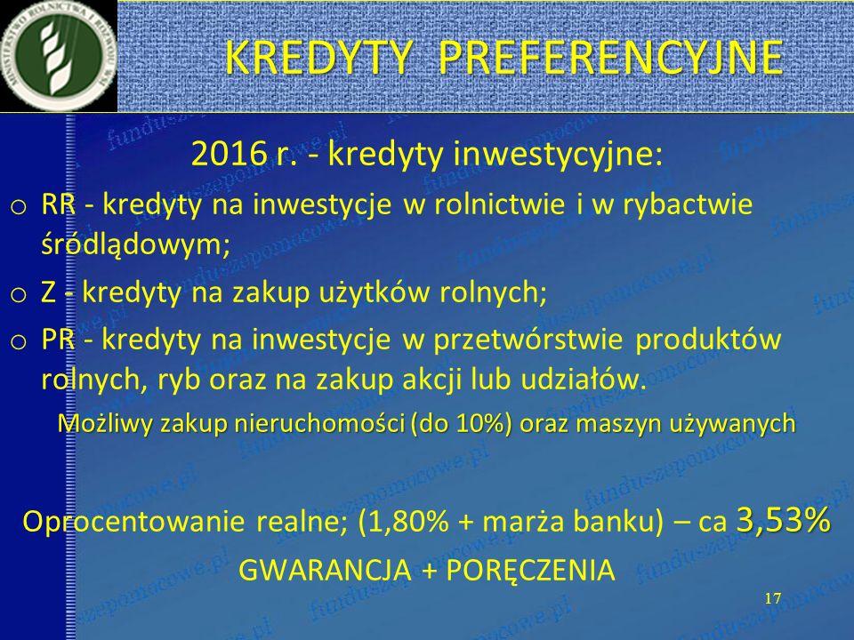 KREDYTY PREFERENCYJNE KREDYTY PREFERENCYJNE 2016 r.