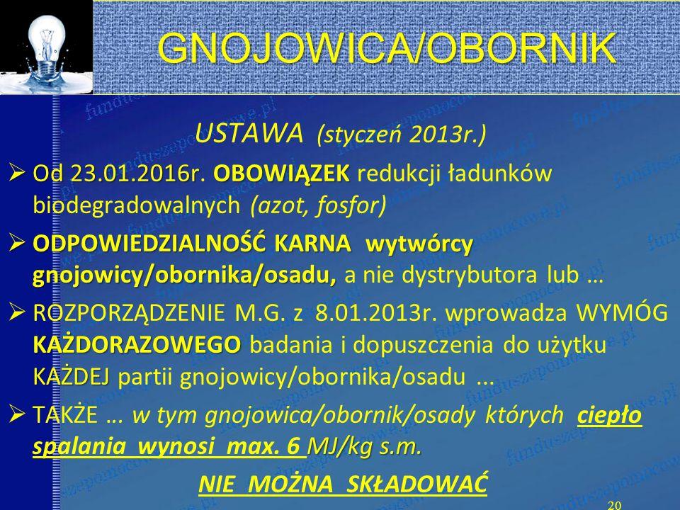 GNOJOWICA/OBORNIK USTAWA (styczeń 2013r.)  Od 23.01.2016rOBOWIĄZEK  Od 23.01.2016r.