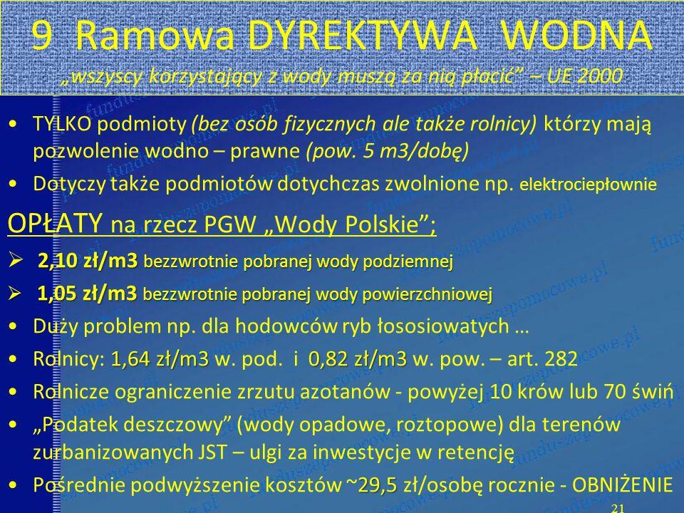 """9 Ramowa DYREKTYWA WODNA """"wszyscy korzystający z wody muszą za nią płacić – UE 2000 TYLKO podmioty (bez osób fizycznych ale także rolnicy) którzy mają pozwolenie wodno – prawne (pow."""