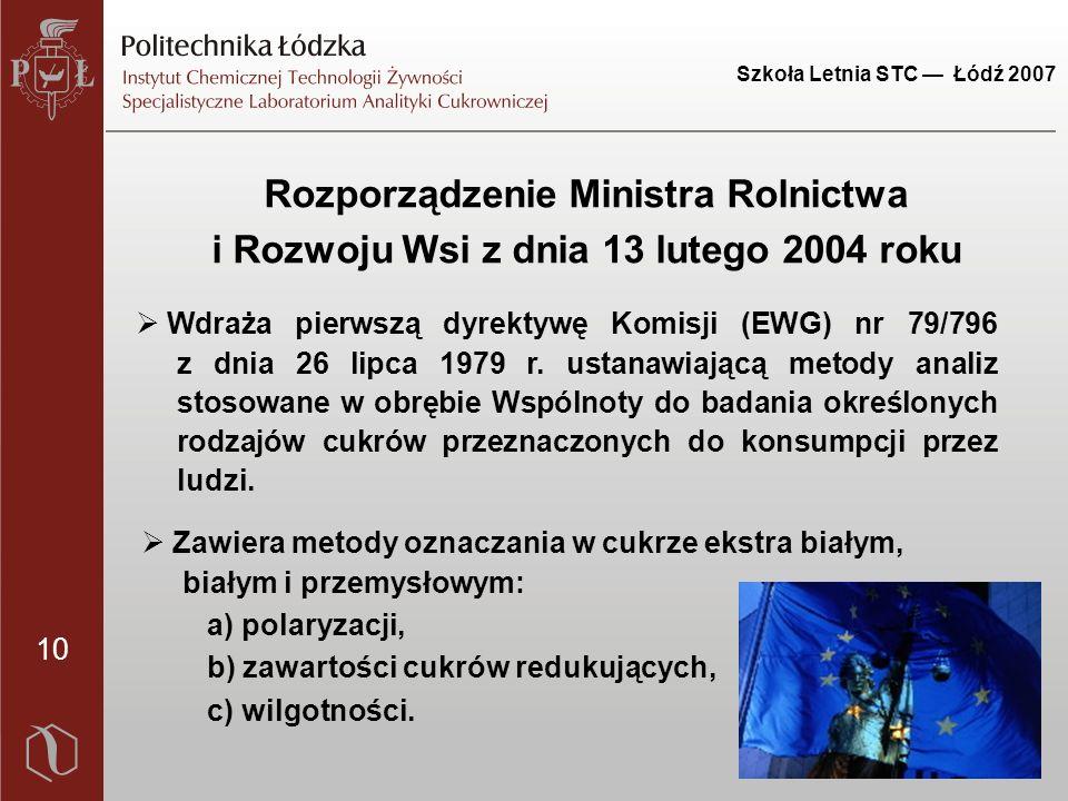 10 Szkoła Letnia STC — Łódź 2007 Rozporządzenie Ministra Rolnictwa i Rozwoju Wsi z dnia 13 lutego 2004 roku  Wdraża pierwszą dyrektywę Komisji (EWG) nr 79/796 z dnia 26 lipca 1979 r.