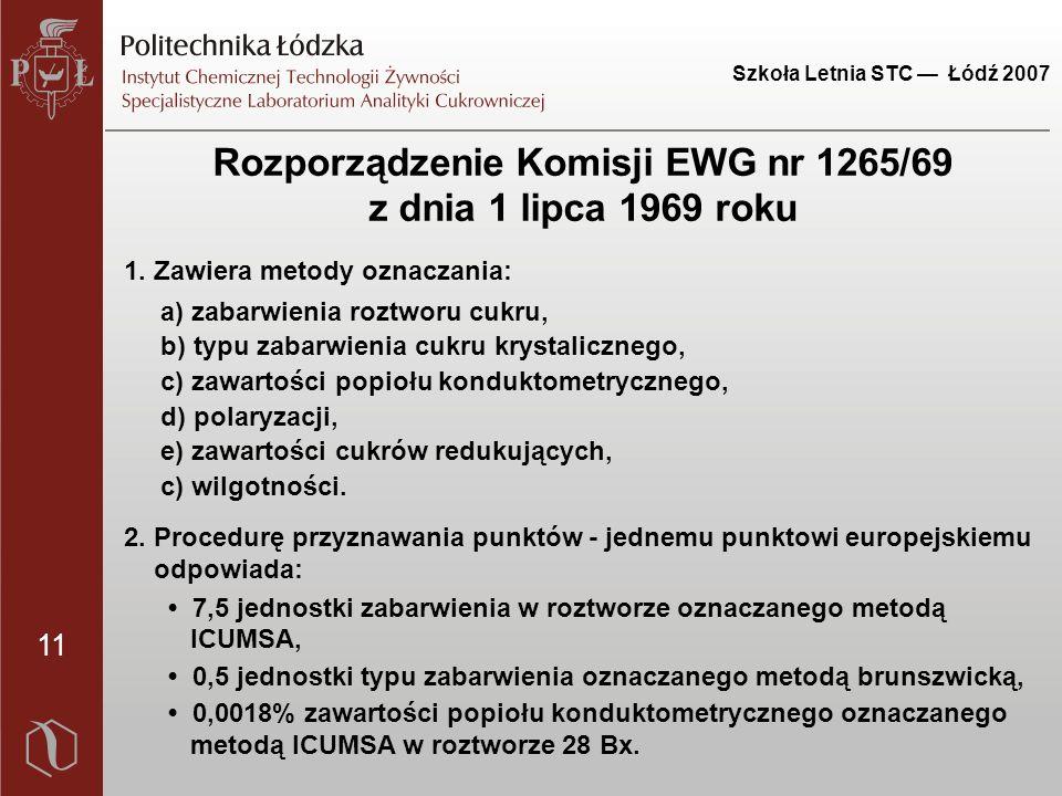 11 Szkoła Letnia STC — Łódź 2007 Rozporządzenie Komisji EWG nr 1265/69 z dnia 1 lipca 1969 roku 1. Zawiera metody oznaczania: a) zabarwienia roztworu