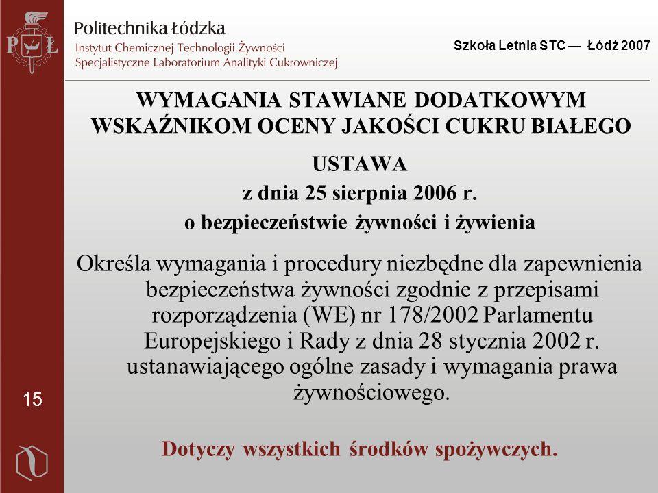 15 Szkoła Letnia STC — Łódź 2007 USTAWA z dnia 25 sierpnia 2006 r. o bezpieczeństwie żywności i żywienia Określa wymagania i procedury niezbędne dla z