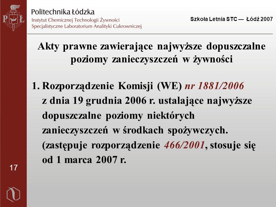 17 Szkoła Letnia STC — Łódź 2007 Akty prawne zawierające najwyższe dopuszczalne poziomy zanieczyszczeń w żywności 1.Rozporządzenie Komisji (WE) nr 188