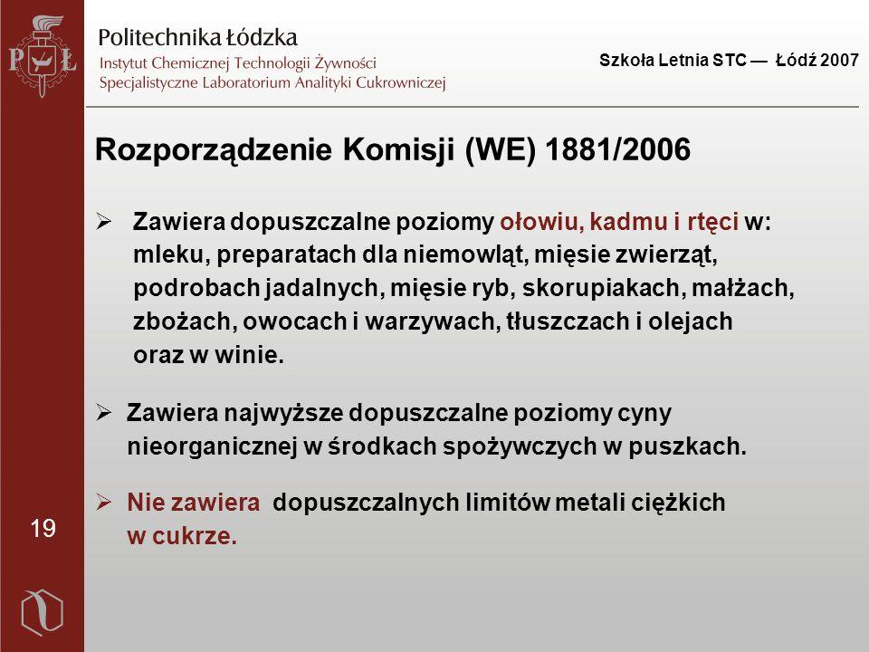 19 Szkoła Letnia STC — Łódź 2007 Rozporządzenie Komisji (WE) 1881/2006  Zawiera dopuszczalne poziomy ołowiu, kadmu i rtęci w: mleku, preparatach dla niemowląt, mięsie zwierząt, podrobach jadalnych, mięsie ryb, skorupiakach, małżach, zbożach, owocach i warzywach, tłuszczach i olejach oraz w winie.