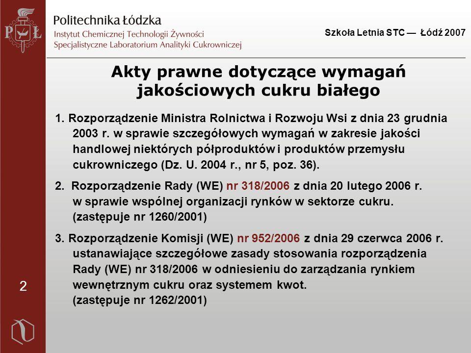 2 Szkoła Letnia STC — Łódź 2007 Akty prawne dotyczące wymagań jakościowych cukru białego 1. Rozporządzenie Ministra Rolnictwa i Rozwoju Wsi z dnia 23
