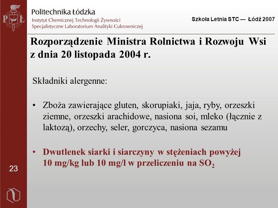 23 Szkoła Letnia STC — Łódź 2007 Składniki alergenne: Zboża zawierające gluten, skorupiaki, jaja, ryby, orzeszki ziemne, orzeszki arachidowe, nasiona