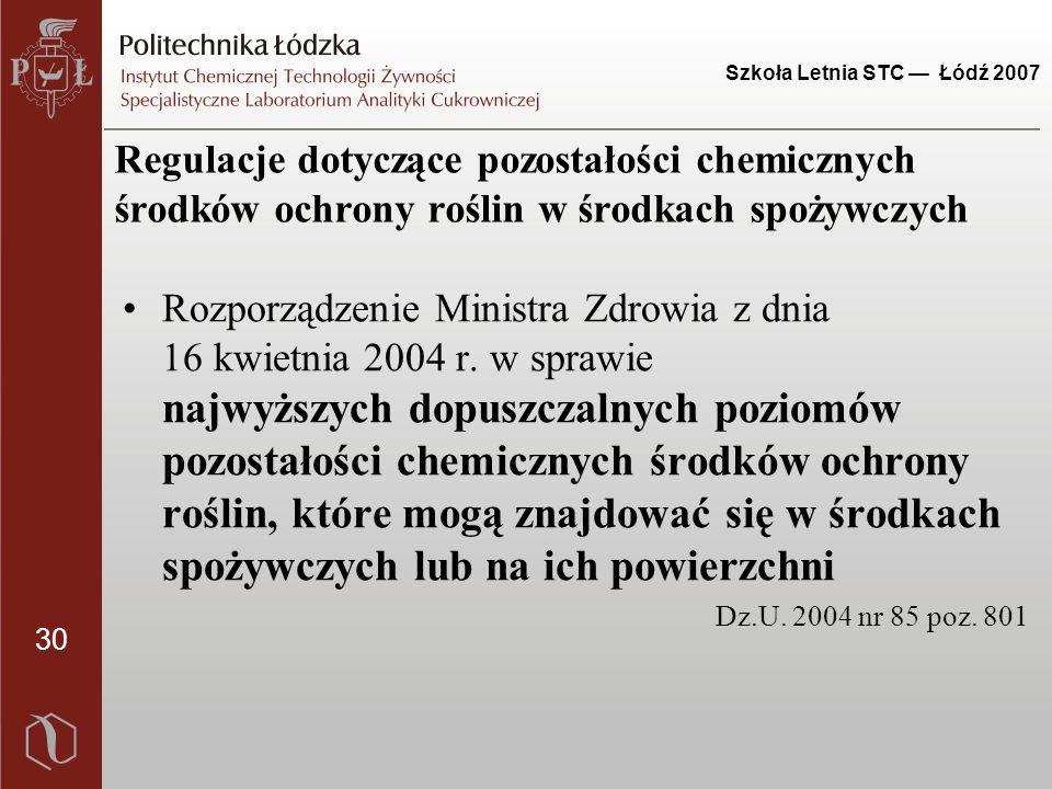 30 Szkoła Letnia STC — Łódź 2007 Regulacje dotyczące pozostałości chemicznych środków ochrony roślin w środkach spożywczych Rozporządzenie Ministra Zd