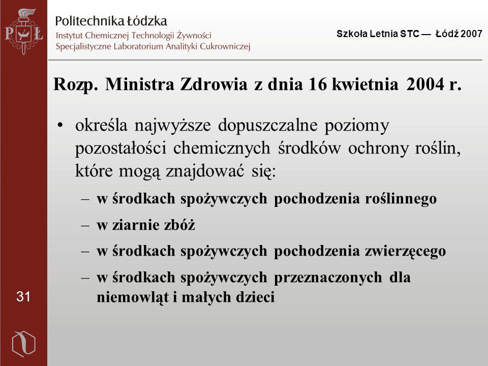 31 Szkoła Letnia STC — Łódź 2007 Rozp. Ministra Zdrowia z dnia 16 kwietnia 2004 r. określa najwyższe dopuszczalne poziomy pozostałości chemicznych śro