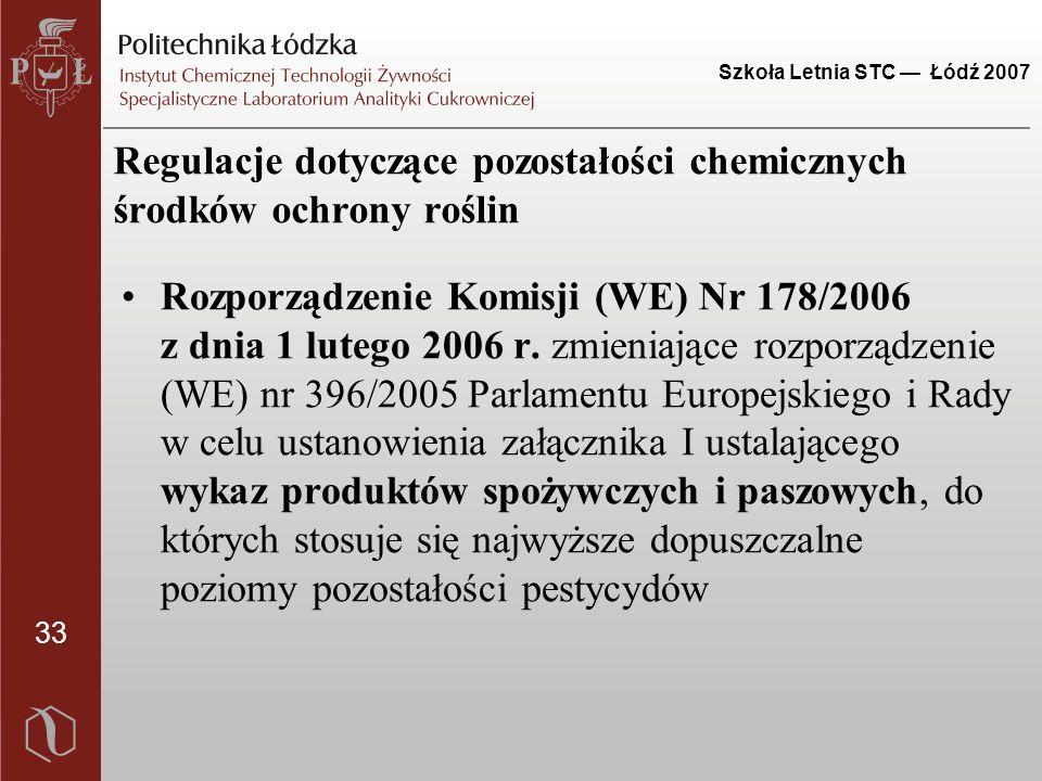 33 Szkoła Letnia STC — Łódź 2007 Regulacje dotyczące pozostałości chemicznych środków ochrony roślin Rozporządzenie Komisji (WE) Nr 178/2006 z dnia 1