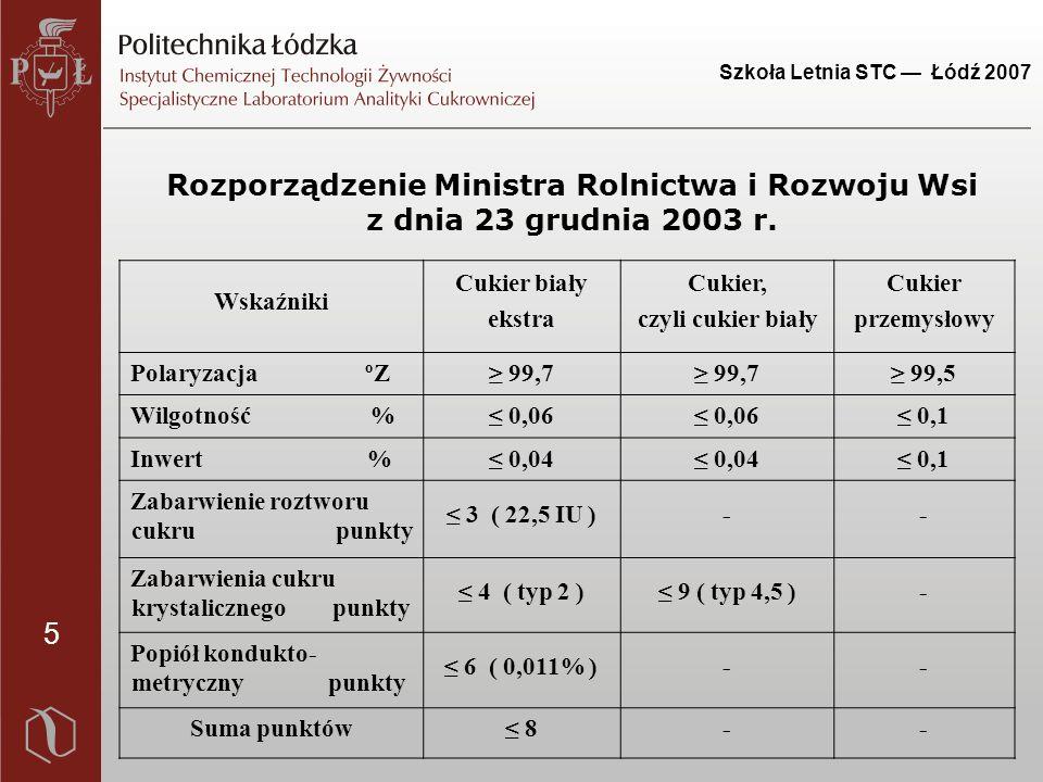5 Szkoła Letnia STC — Łódź 2007 Rozporządzenie Ministra Rolnictwa i Rozwoju Wsi z dnia 23 grudnia 2003 r. Wskaźniki Cukier biały ekstra Cukier, czyli