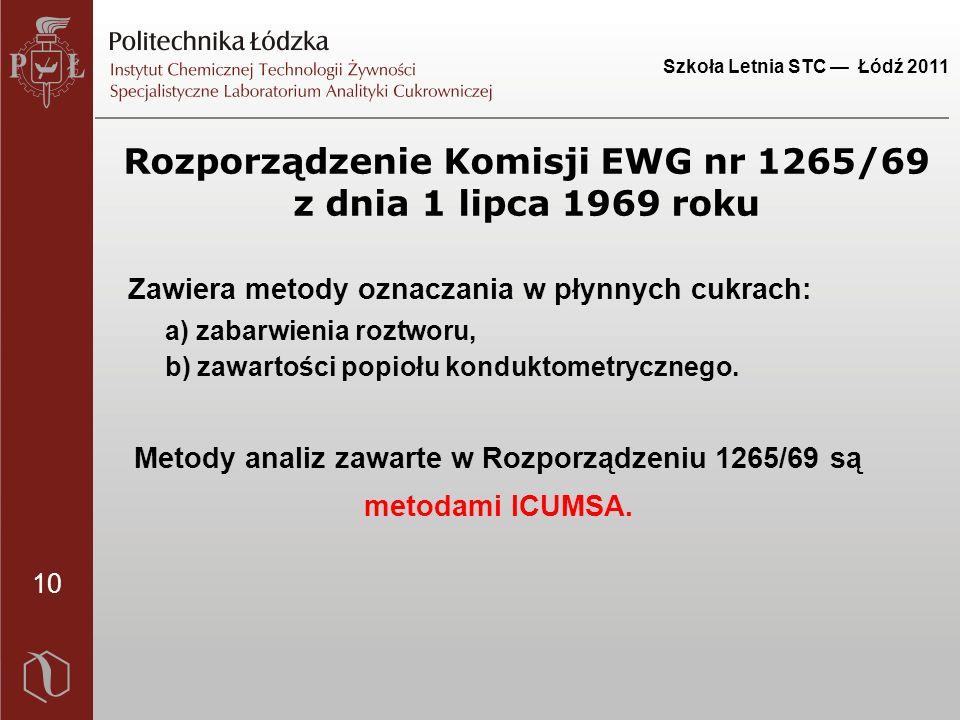 10 Szkoła Letnia STC — Łódź 2011 Rozporządzenie Komisji EWG nr 1265/69 z dnia 1 lipca 1969 roku Zawiera metody oznaczania w płynnych cukrach: a) zabarwienia roztworu, b) zawartości popiołu konduktometrycznego.