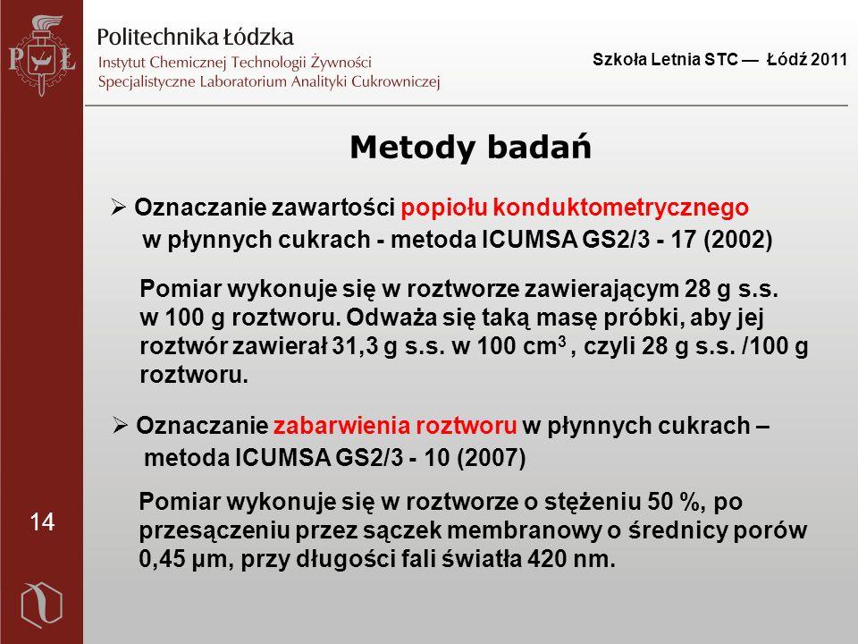 14 Szkoła Letnia STC — Łódź 2011 Metody badań Pomiar wykonuje się w roztworze zawierającym 28 g s.s.