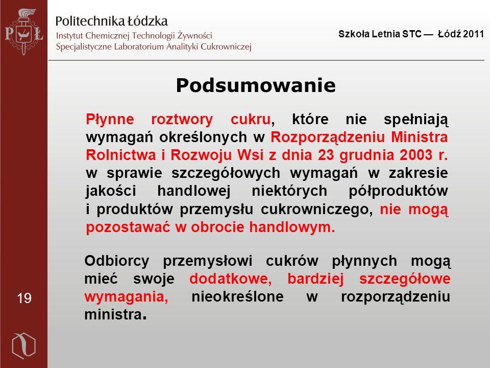 19 Szkoła Letnia STC — Łódź 2011 Odbiorcy przemysłowi cukrów płynnych mogą mieć swoje dodatkowe, bardziej szczegółowe wymagania, nieokreślone w rozporządzeniu ministra.