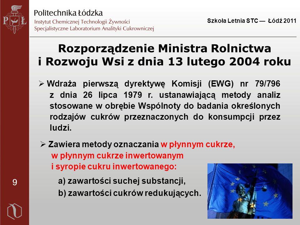 9 Szkoła Letnia STC — Łódź 2011 Rozporządzenie Ministra Rolnictwa i Rozwoju Wsi z dnia 13 lutego 2004 roku  Wdraża pierwszą dyrektywę Komisji (EWG) nr 79/796 z dnia 26 lipca 1979 r.